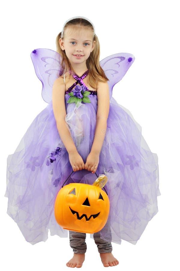 Het kind kleedde zich voor Halloween stock afbeelding