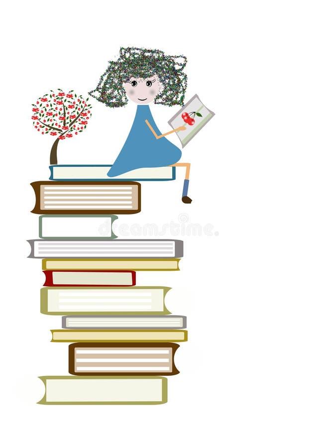het kind leest een boek royalty-vrije illustratie