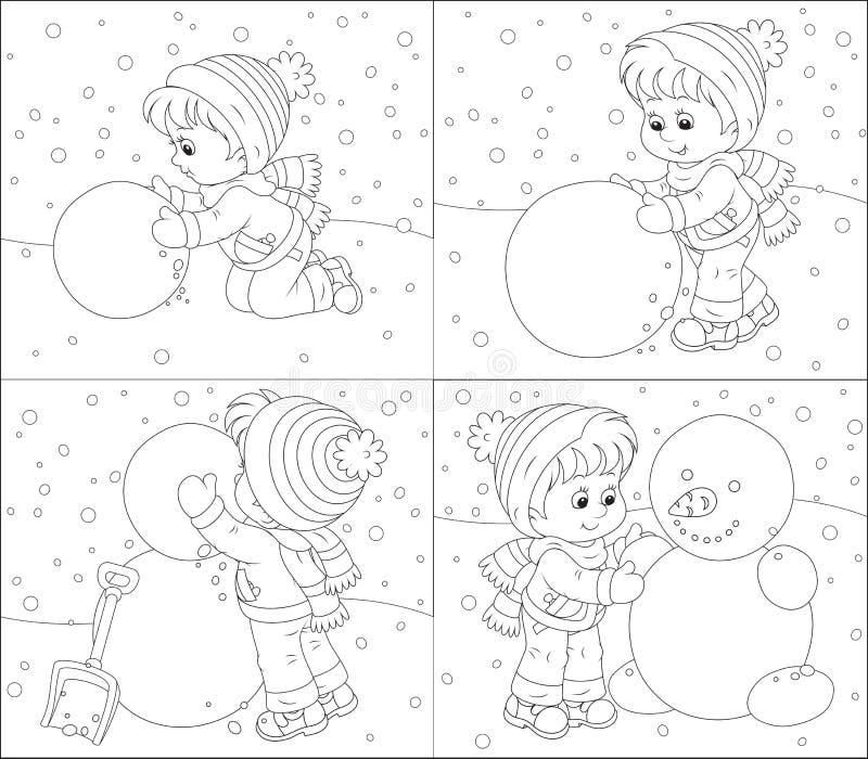 Het kind maakt een sneeuwman royalty-vrije illustratie