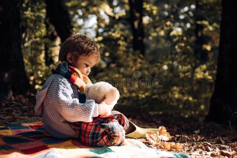 Het kind nam favoriet stuk speelgoed aan aard Picknick met teddybeer Wandeling met favoriet stuk speelgoed Beter samen Gelukkige  stock foto