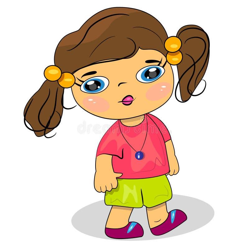Het kind van het beeldverhaal het lopen illustratie. meisje ic stock illustratie
