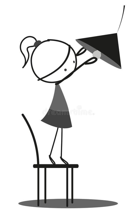 Het kind van het krabbelmeisje vervangt de lamp vector illustratie