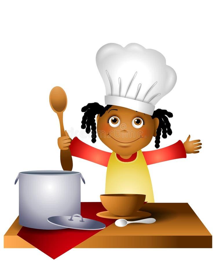 Het Kind van het meisje in de Hoed van de Chef-kok royalty-vrije illustratie