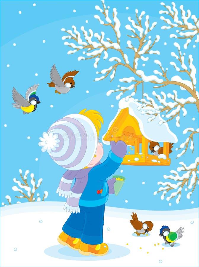 Het kind voedt vogels royalty-vrije illustratie