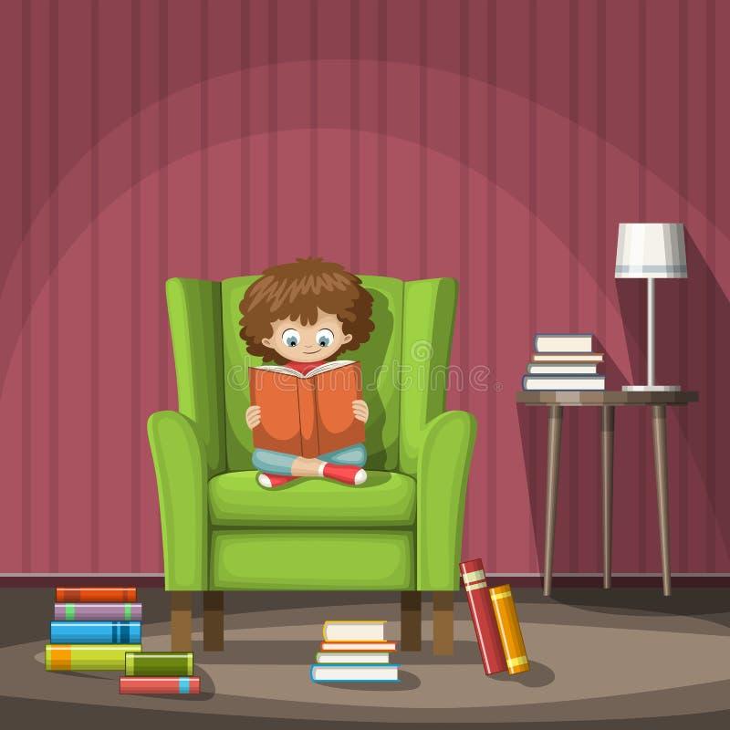 Het kind zit op een stoel en leest een boek royalty-vrije illustratie
