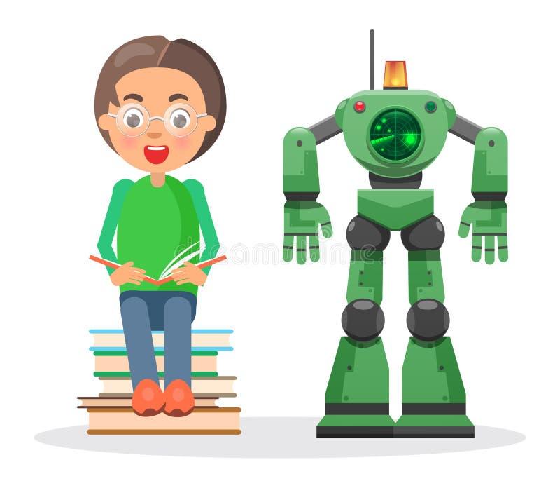 Het kind zit op Stapel van Boeken en leest naast Robot vector illustratie