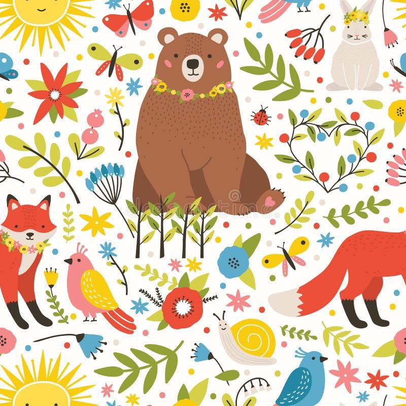 Het kinderachtige naadloze patroon met aanbiddelijke dieren, vogels, bloeiende de lenteweide bloeit op witte achtergrond de lente royalty-vrije illustratie