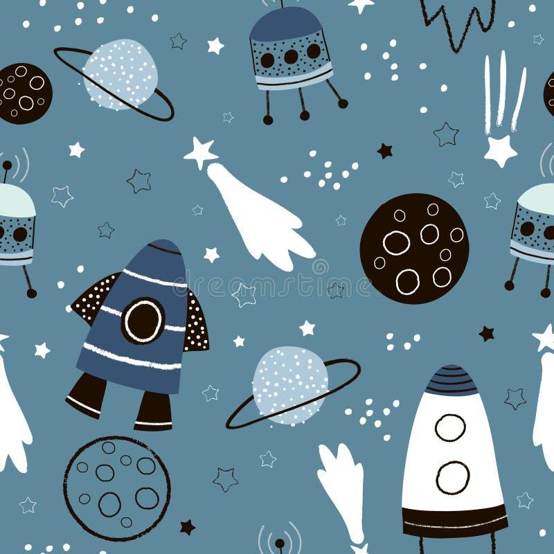 Het kinderachtige naadloze patroon met hand getrokken ruimteelementen plaatst, raket, ster, planeet, sondeerballon uit elkaar In  royalty-vrije illustratie