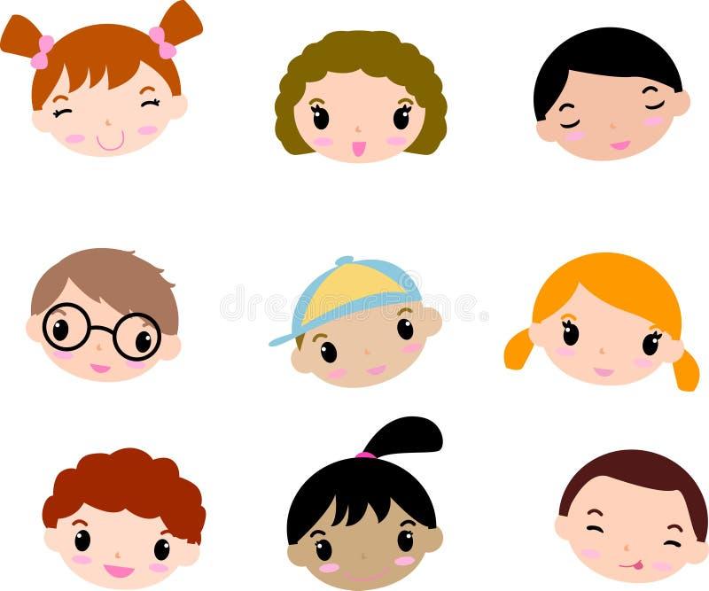 Het kindgezichten van het beeldverhaal vector illustratie
