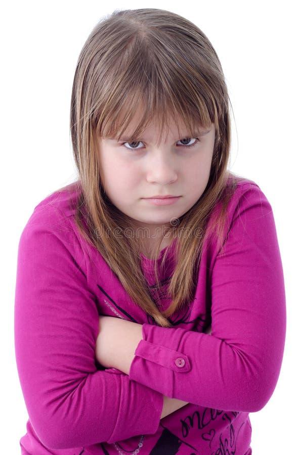 Het kindmeisje van de teleurstelling stock afbeeldingen