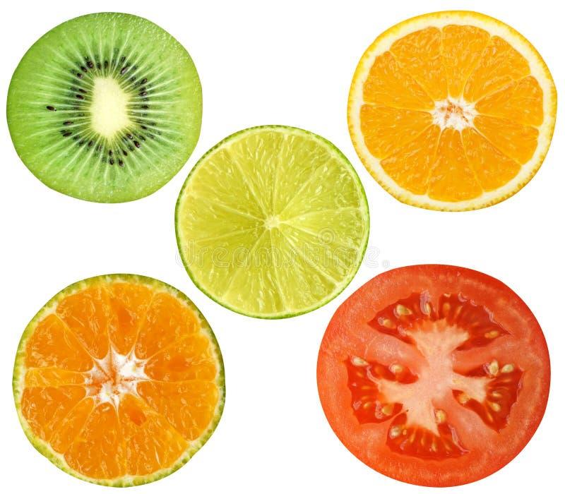 Het kiwifruit, citroen, sinaasappel, tomaat isoleert op witte achtergrond royalty-vrije stock foto