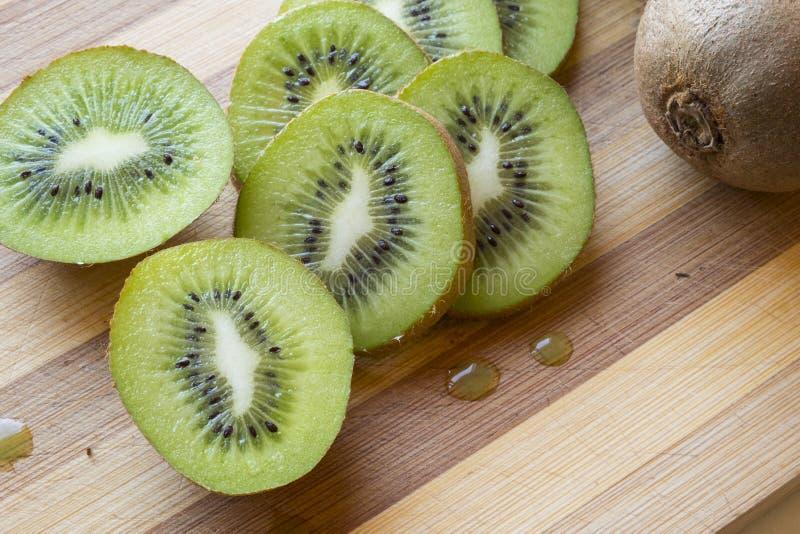 Het kiwifruit snijdt landschaps hoogste detail royalty-vrije stock fotografie