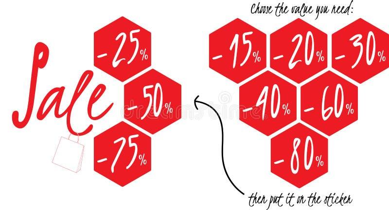 HET KLANTGERICHTE MALPLAATJE VAN DE VERKOOPsticker vector illustratie