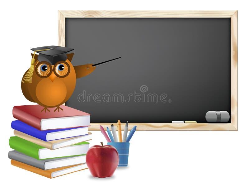 Het klaslokaal met Bord boekt Pennen en Appel royalty-vrije illustratie