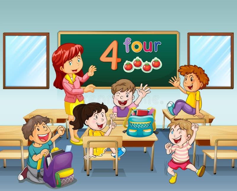 Het Klaslokaal van leraarsand students in stock illustratie