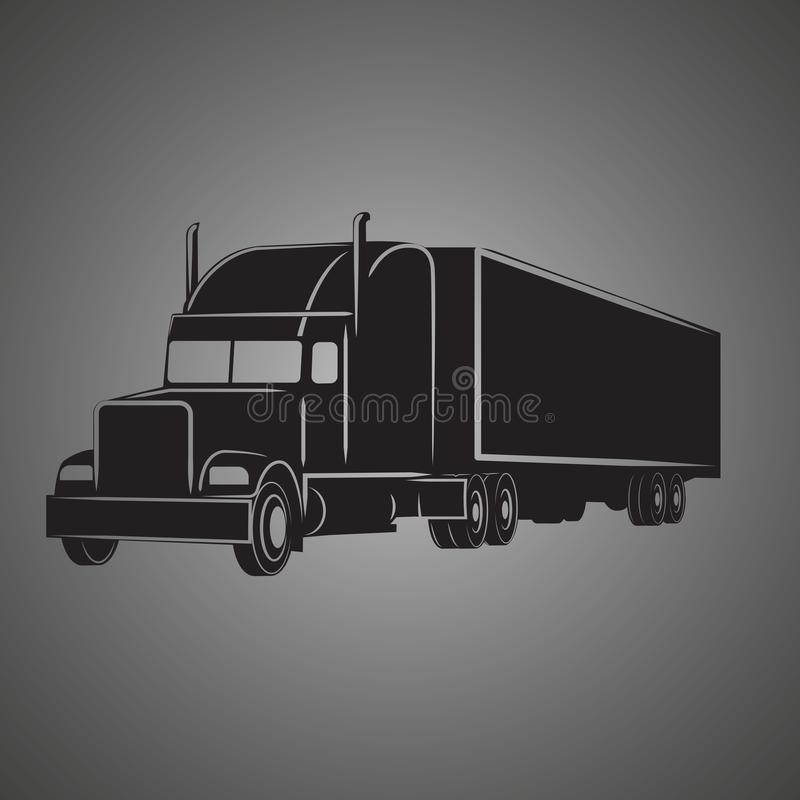 Het klassieke Amerikaanse pictogram van de vrachtwagen vectorillustratie Retro vrachtschipvrachtwagen vector illustratie