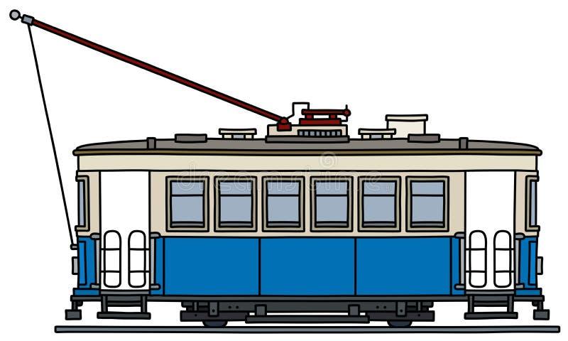 Het klassieke blauwe en witte tramspoor vector illustratie