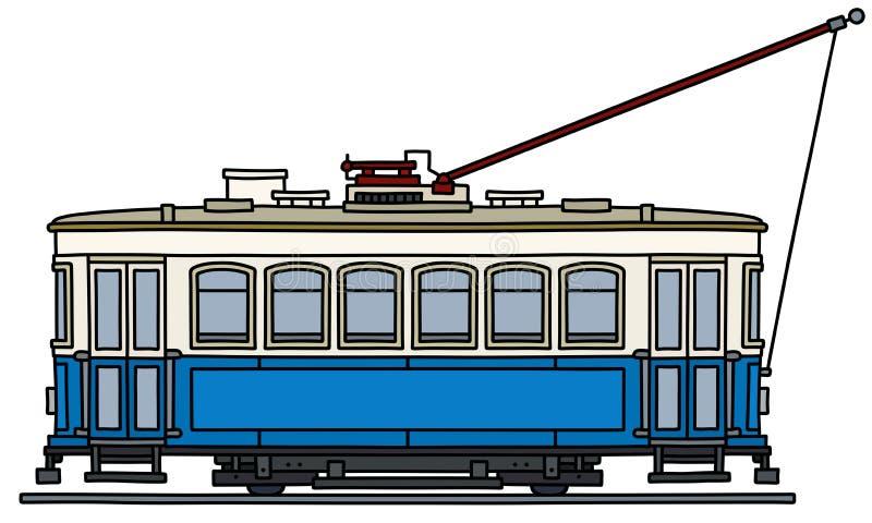 Het klassieke blauwe tramspoor stock illustratie