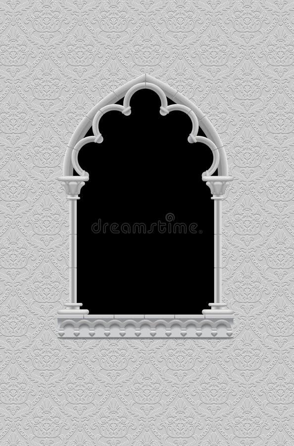Het klassieke kader in vorm van gotisch decoratief venster op ornamen stock illustratie