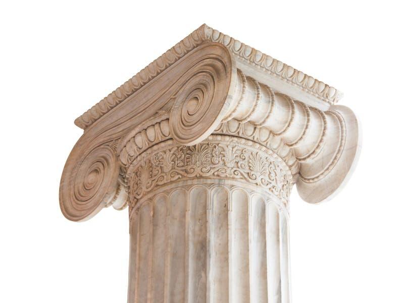 Het klassieke Kapitaal van de Kolom op wit stock afbeeldingen