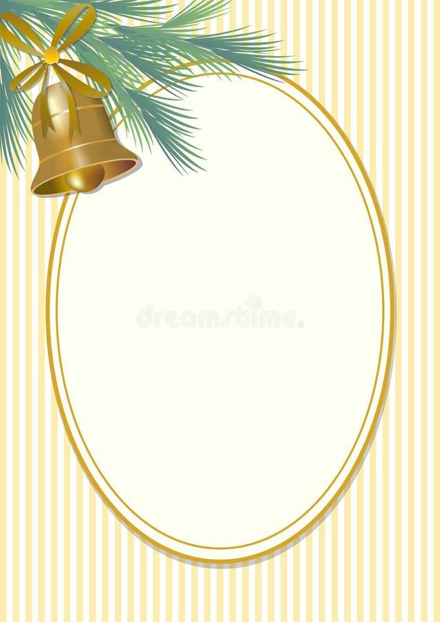 Het klassieke motief van de Kerstmisgroet in uitstekende stijl, groene nette tak en gouden klok met lint Leeg ovaal voor eigen be royalty-vrije illustratie