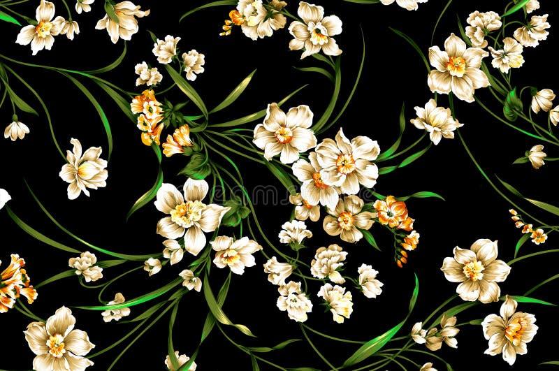Het klassieke patroon van de behang uitstekende bloem op purpere achtergrond stock foto