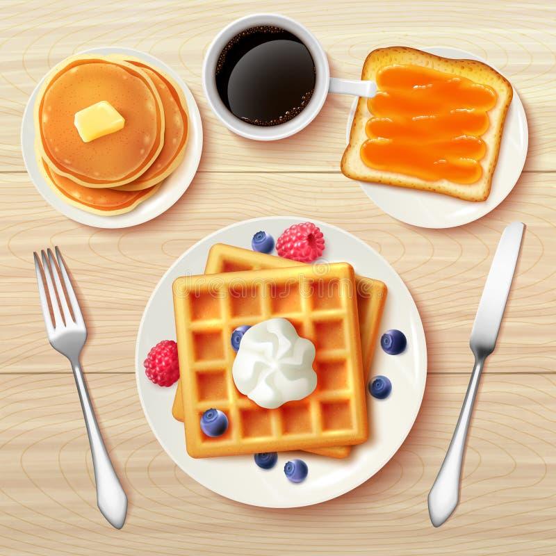 Het klassieke Realistische Beeld van de Ontbijt Hoogste Mening stock illustratie