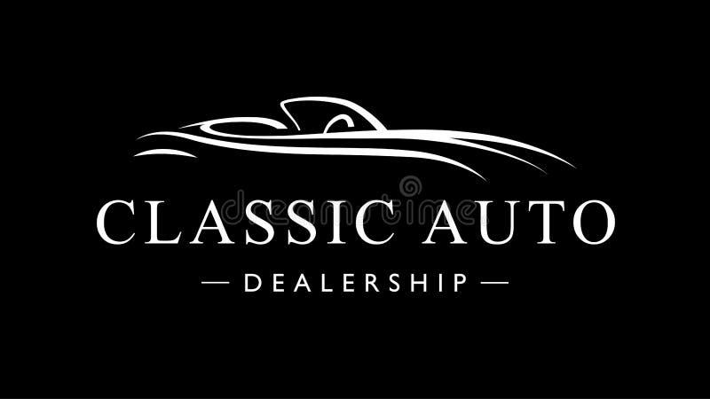 Het klassieke uitstekende pictogram van het het embleemsilhouet van het sportwagen autohandel drijven vector illustratie