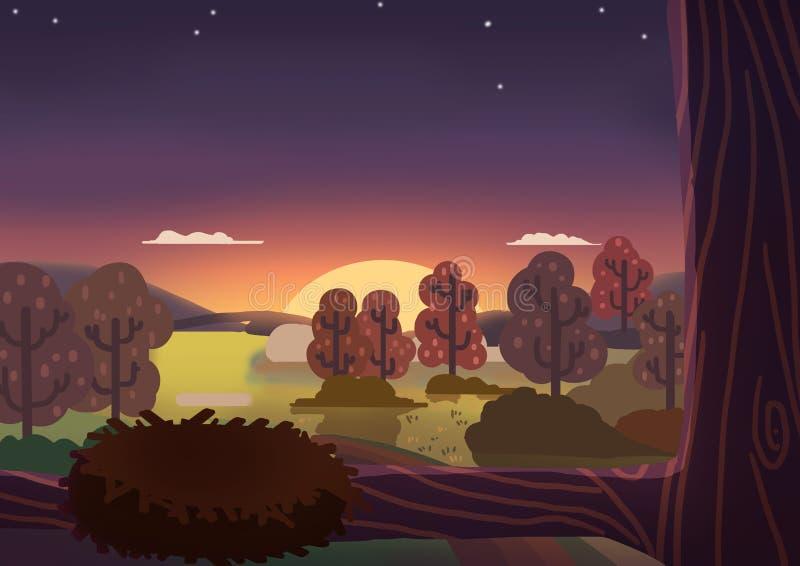 Het Kleine Bos bij Vreedzame Nacht stock illustratie