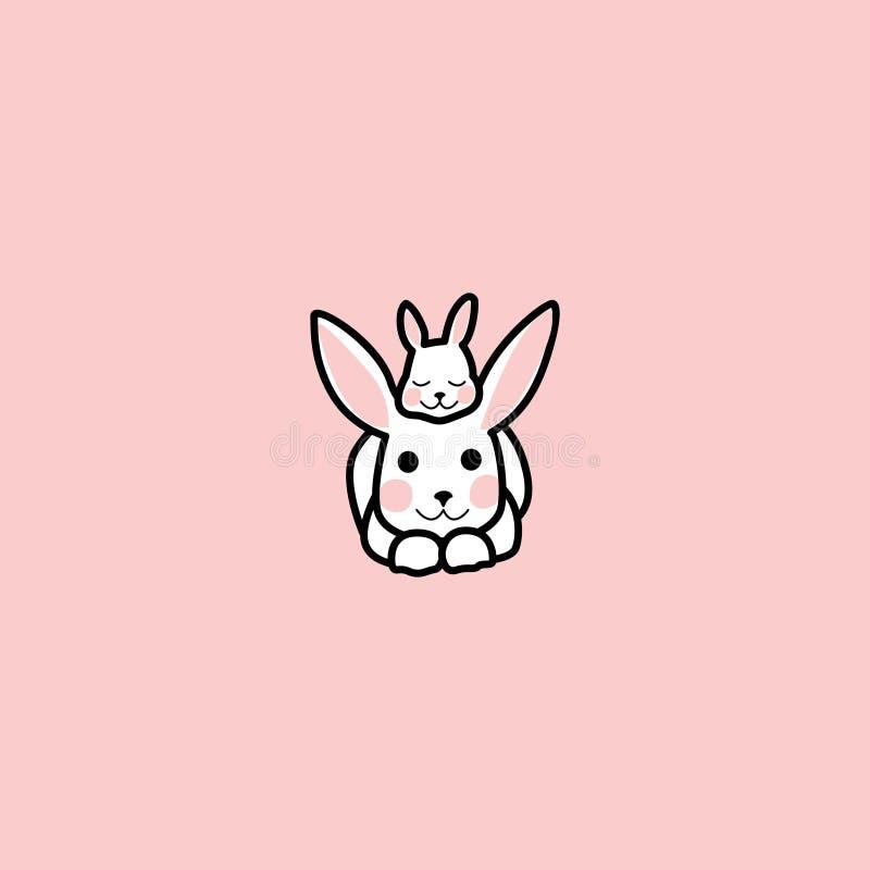 Het kleine konijn ligt op het hoofd van het grote konijn konijn en zijn baby Grappig Konijntje Hand getrokken elementen stock illustratie