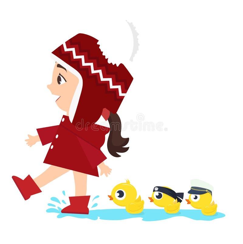 Het kleine Meisje met Eenden zwemt royalty-vrije illustratie