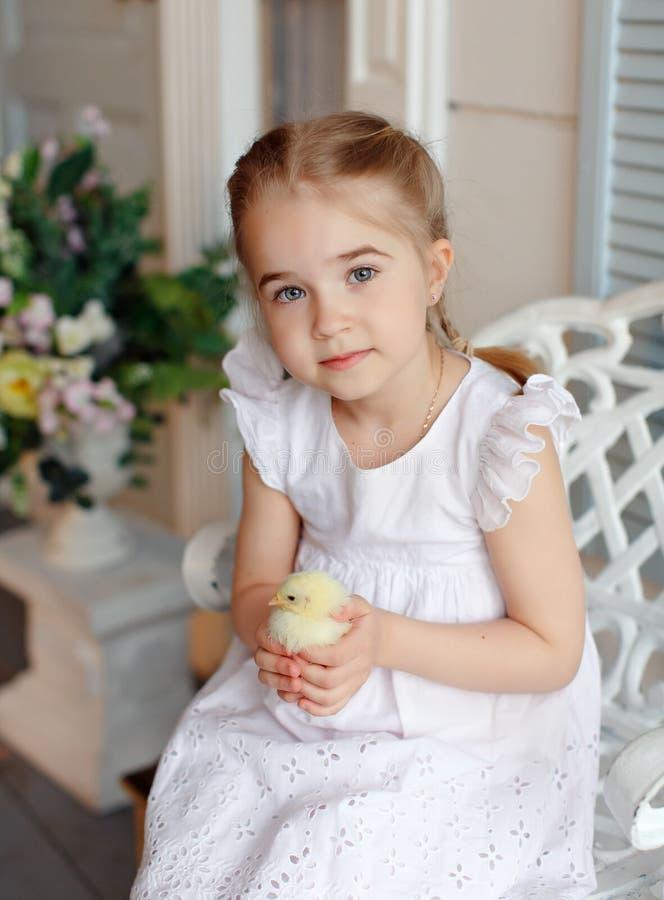Het kleine roodharige meisje die met vlechten een gele chicke houden stock foto
