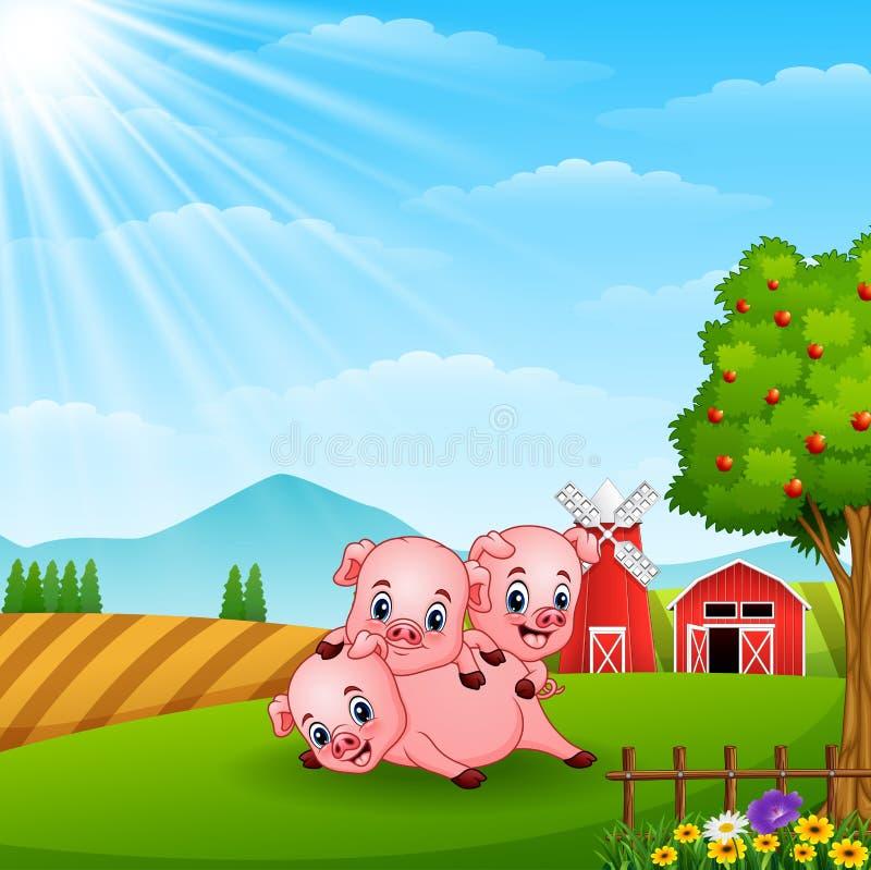 Het kleine varken drie spelen op daglicht stock illustratie