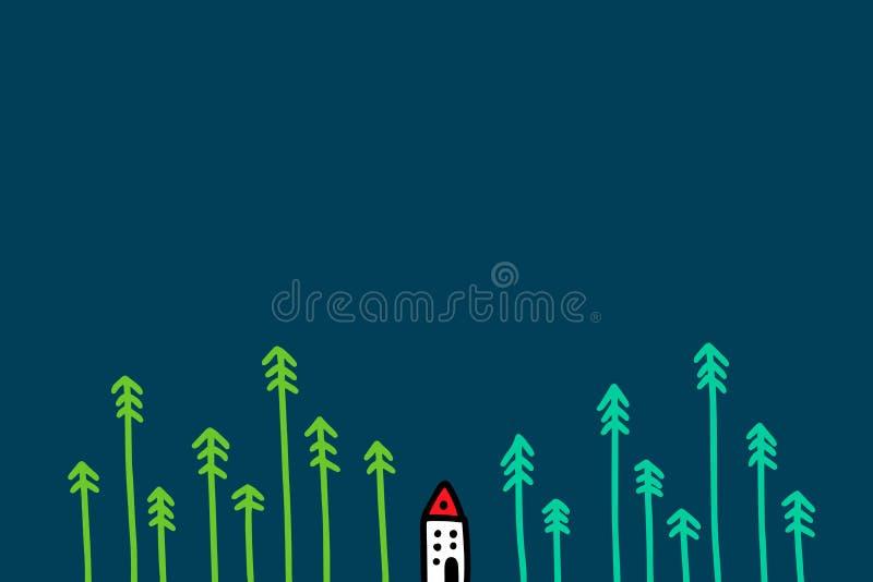 Het kleine witte huis met rood dak in het bos van pijnbomen overhandigt getrokken vectorillustratie voor prentbriefkaaren en de w vector illustratie