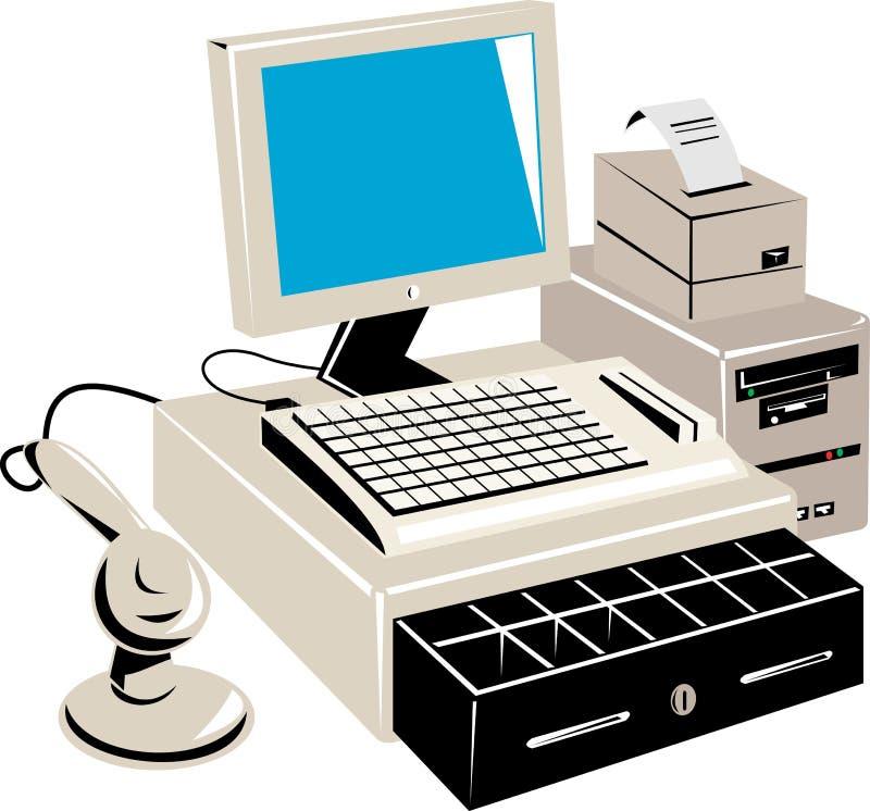 Het kleinhandelsverkooppunt van de computer royalty-vrije illustratie