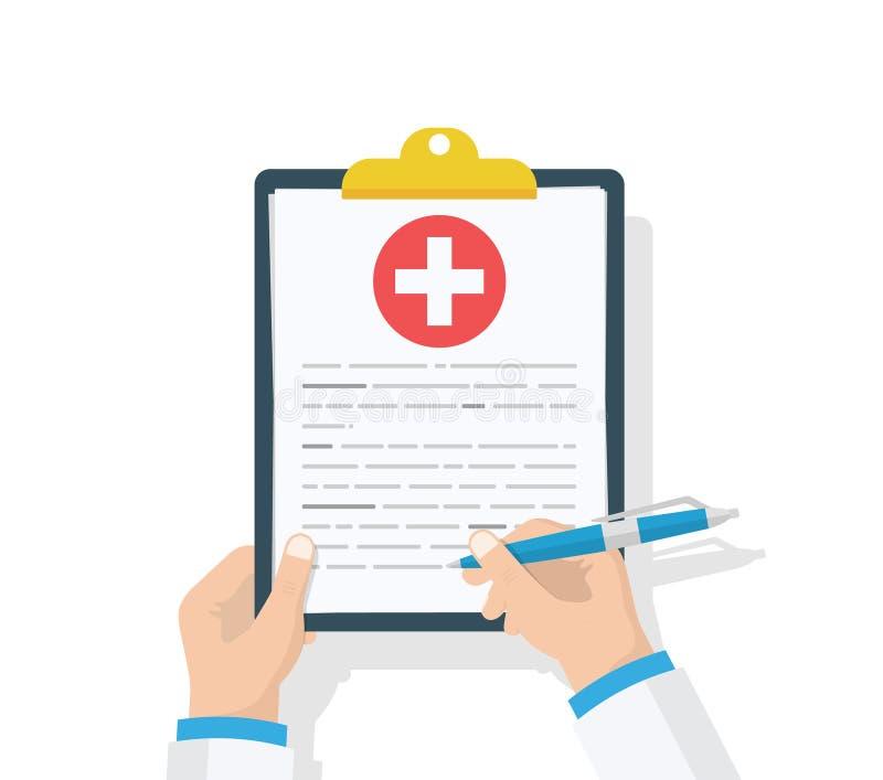 Het klembord van de artsengreep en neemt nota's over het Medisch rapport Controlelijst Vlak ontwerp, vectorillustratie op achterg royalty-vrije illustratie