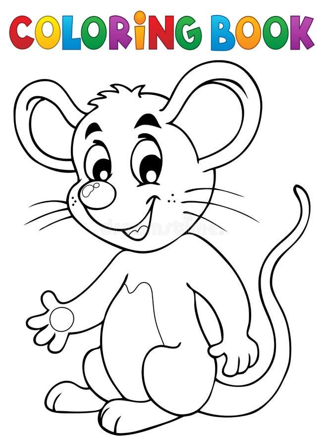 Het kleuren boek gelukkige muis royalty-vrije illustratie
