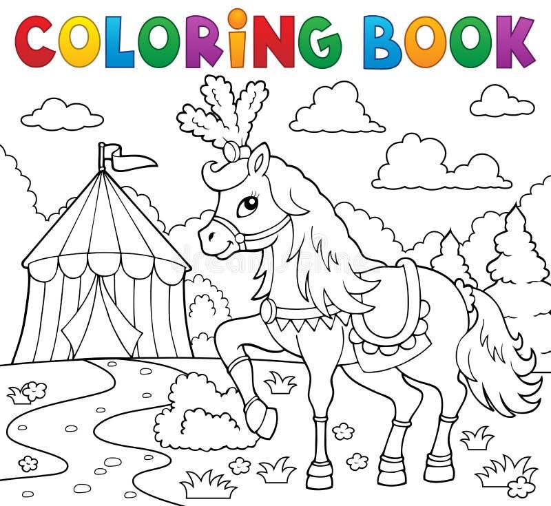 Het kleuren boekpaard dichtbij circusthema 1 royalty-vrije illustratie