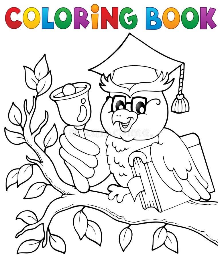 Het kleuren de leraarsthema 1 van de boekuil royalty-vrije illustratie
