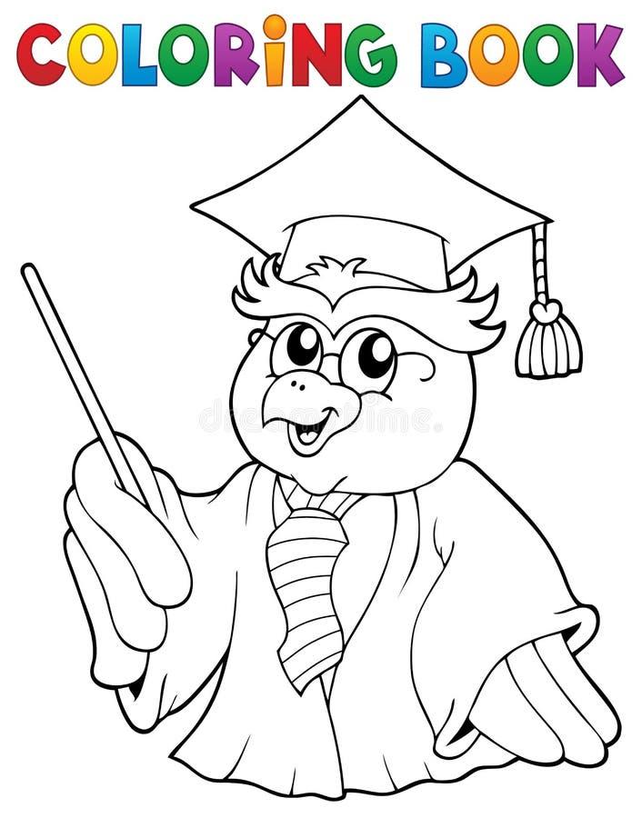 Het kleuren de leraarsthema 3 van de boekuil vector illustratie
