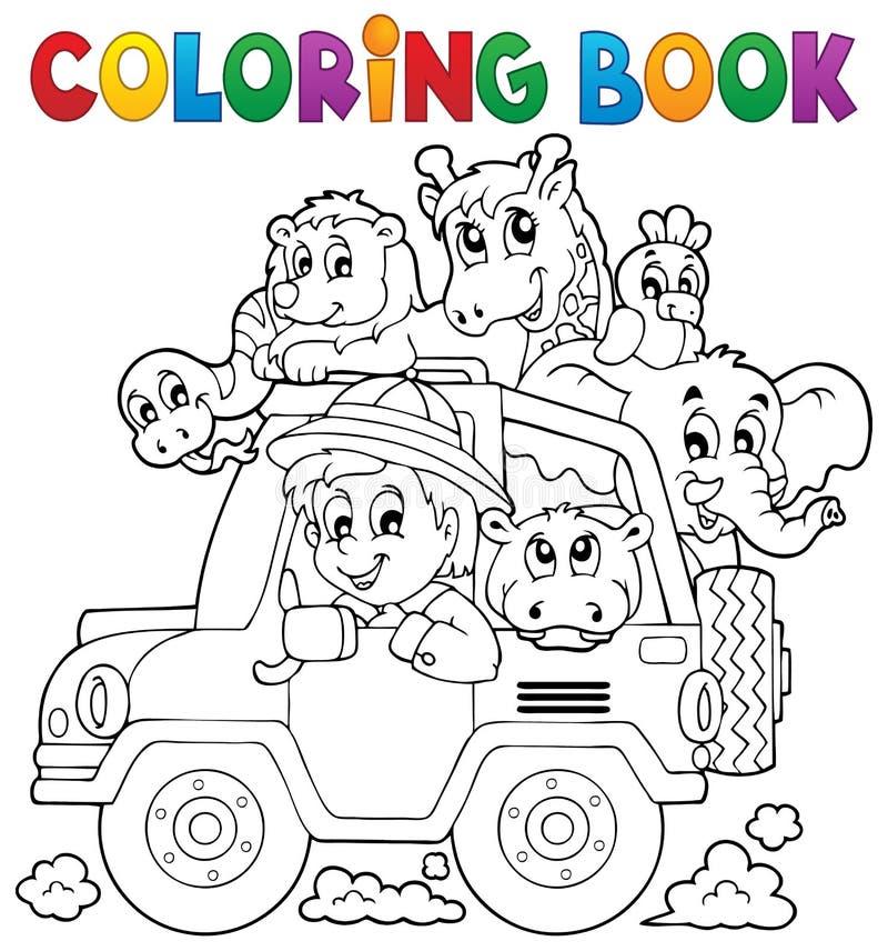 Het kleuren de reizigersthema 2 van de boekauto stock illustratie