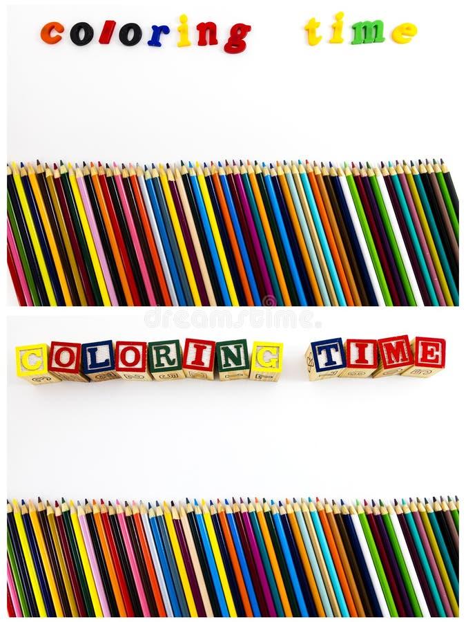 Het kleuren de ruimte van het de potlodenexemplaar van tijdbrieven stock afbeeldingen