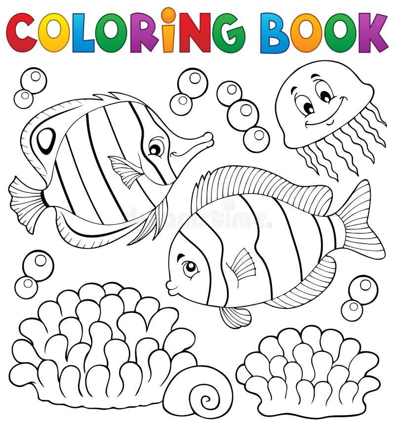 Het kleuren de vissenthema 2 van het boekkoraal vector illustratie