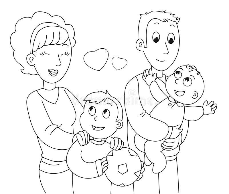 Het kleuren familievector royalty-vrije illustratie
