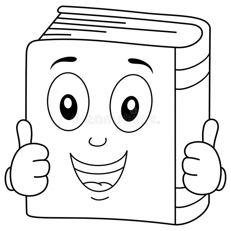 Het kleuren het Gelukkige Boekkarakter Glimlachen stock illustratie