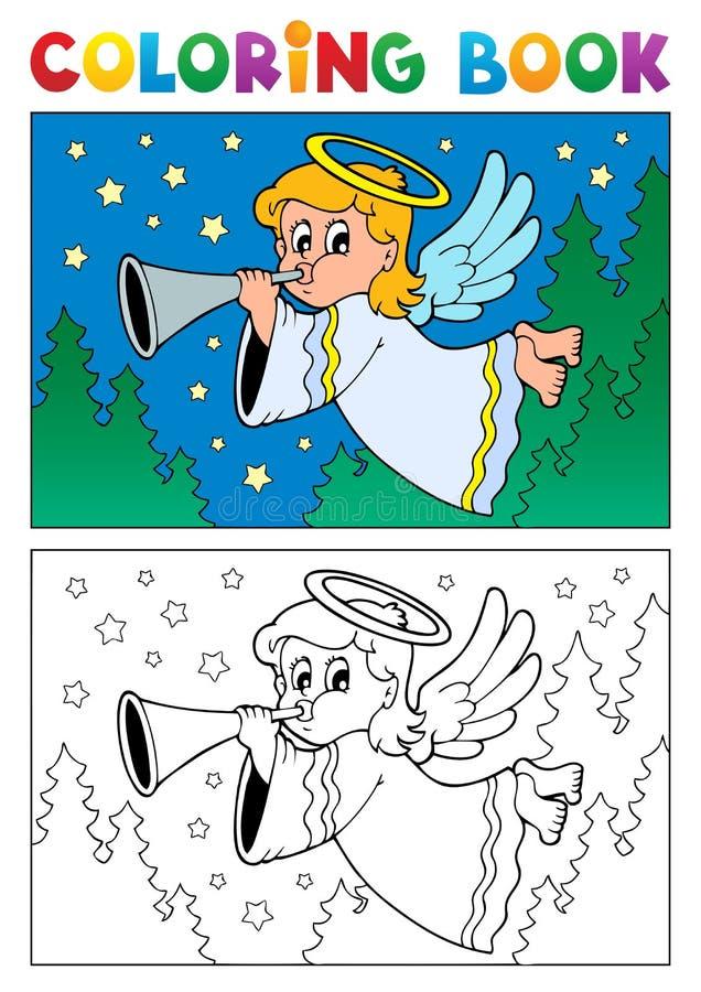 Het kleuren het themabeeld 4 van de boekengel royalty-vrije illustratie
