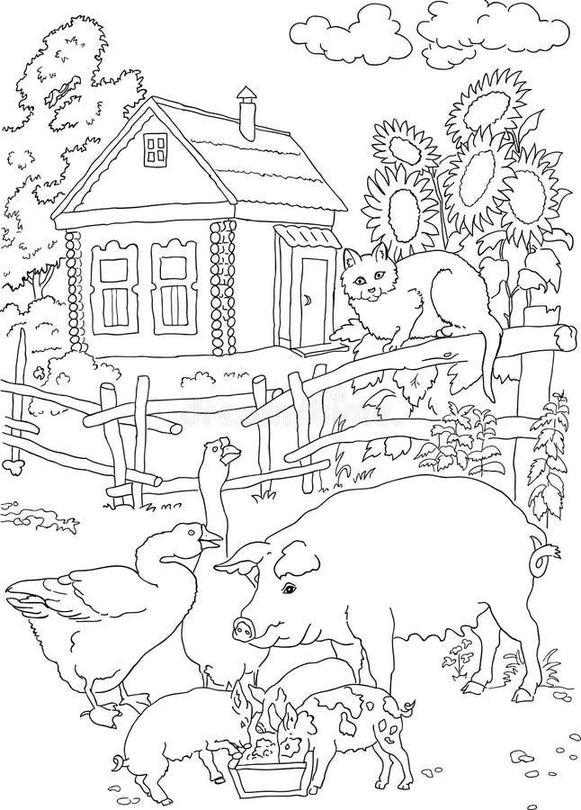 Het kleuren kat, varken, huis royalty-vrije stock foto's