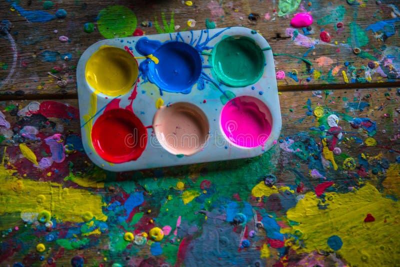Het kleuren lessen bij kunstonderwerpen royalty-vrije stock afbeeldingen