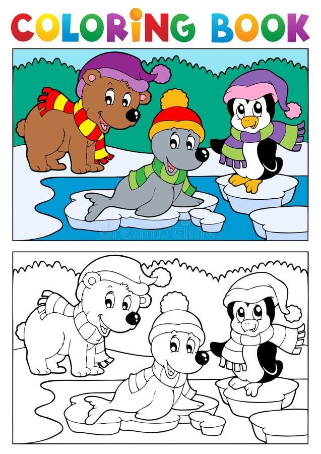 Het kleuren onderwerp 5 van de boekwinter royalty-vrije illustratie