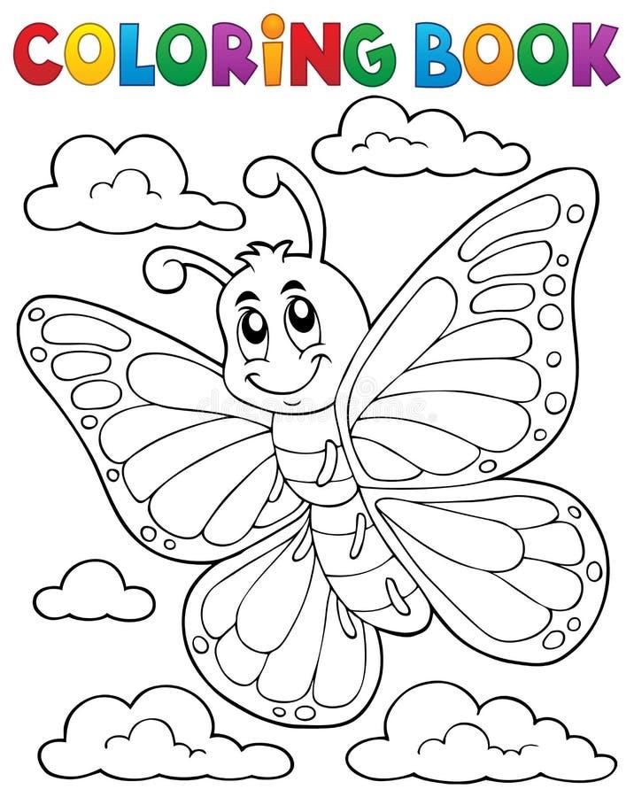 Het kleuren onderwerp 1 van de boek gelukkig vlinder stock illustratie